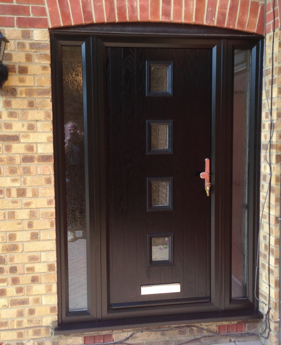 composite front door with very stylish black frames