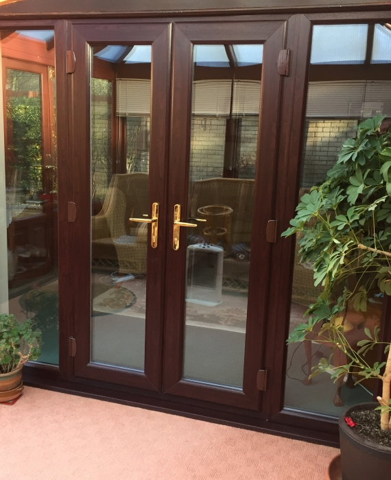 rosewood french doors with 2 side windows